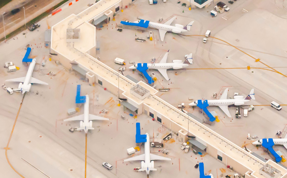 Aerial photo of busy airport terminal