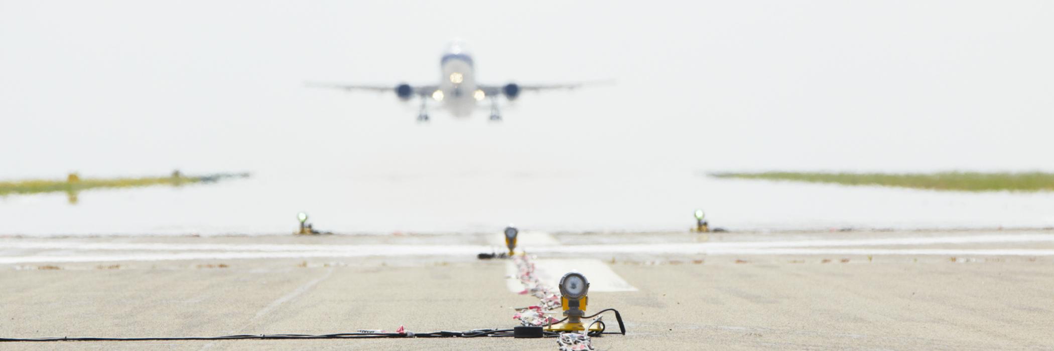 Plane landing on hot runway