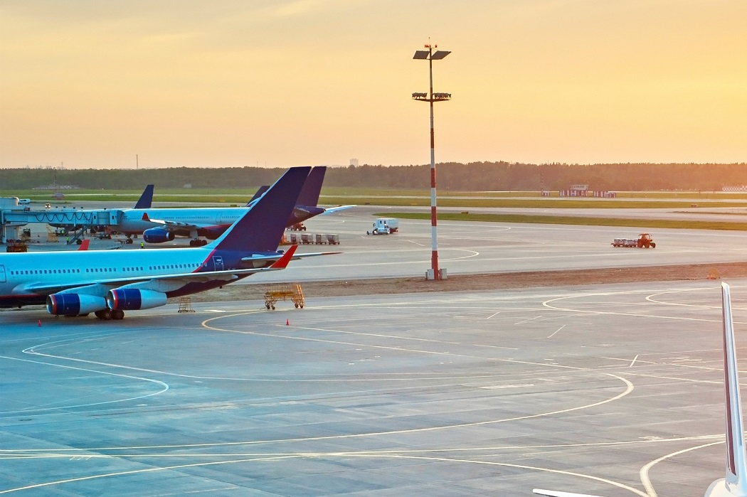 Busy terminal at sunset