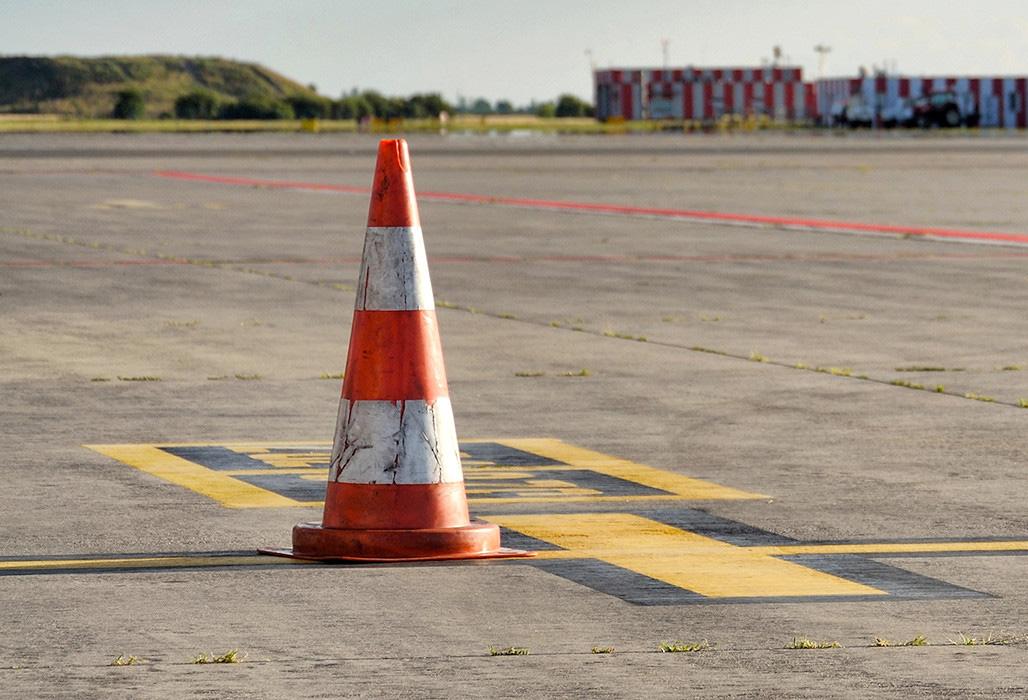 Traffic cone on runway