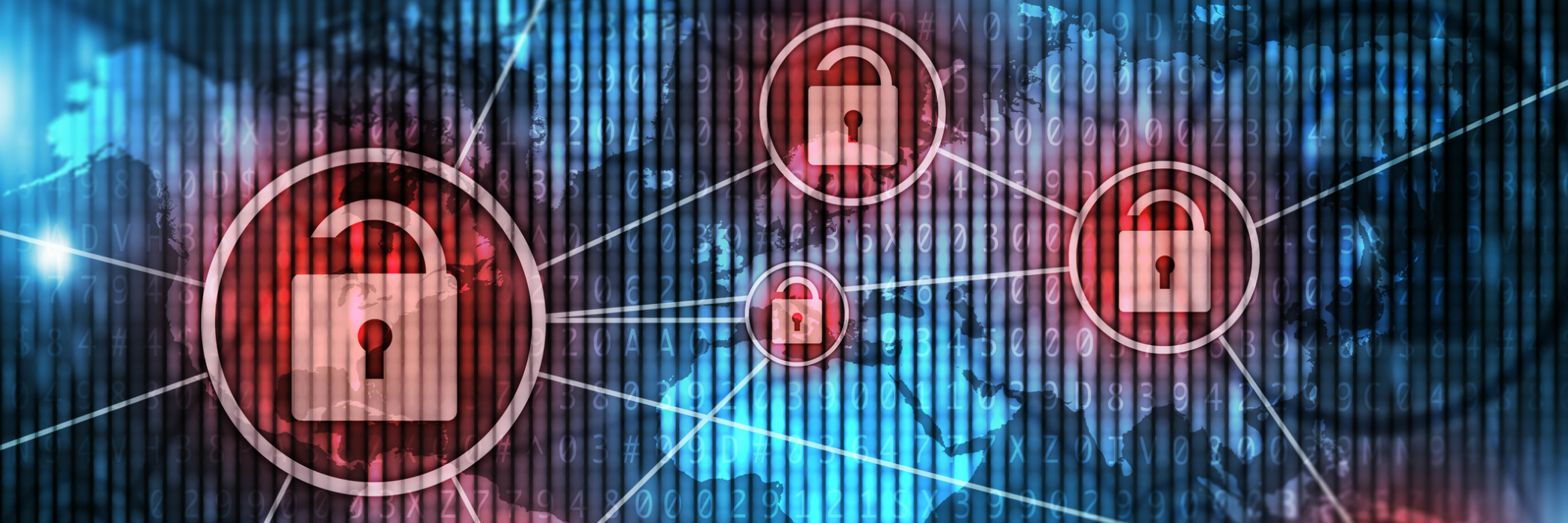 Different types of data protected with red padlocks
