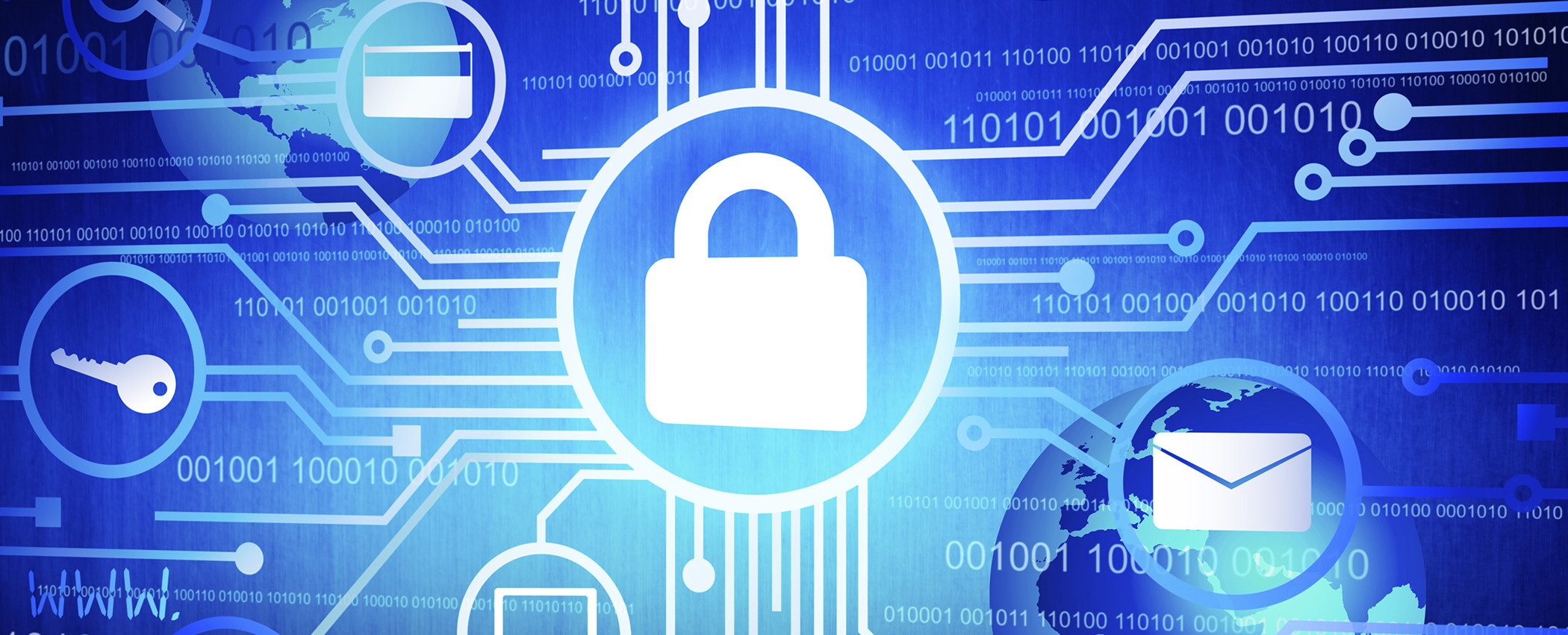 Different types of data protected with padlock