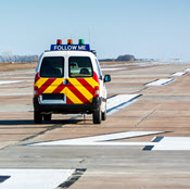 Emergency vehicle on runway
