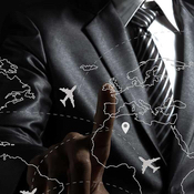 Businessman choosing aviation route