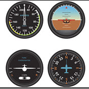 Tableau of airplane instruments