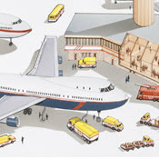Illustration of busy airport terminal