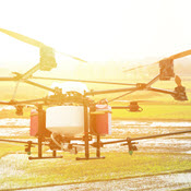 sUAS flying over agricultural field