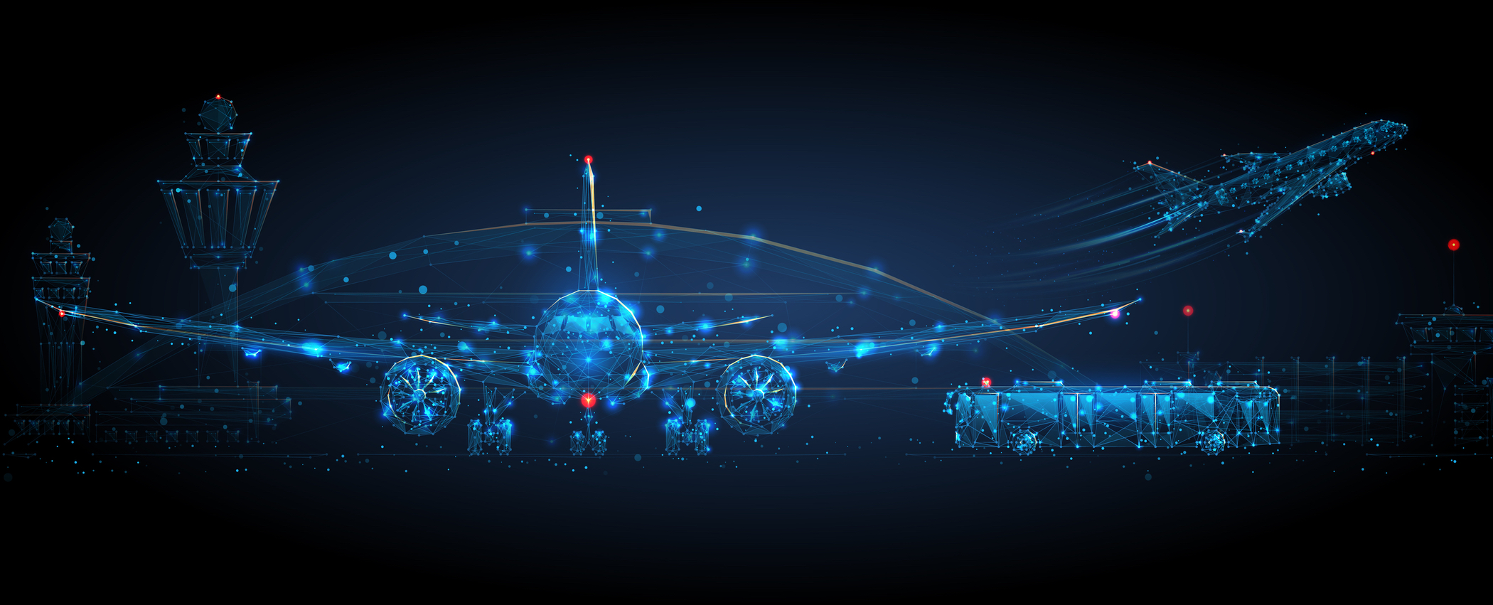 Digital airplane standing on runway, airport buildings, plane taking off, shuttle bus, control tower. Airport low poly wireframe concept in dark blue