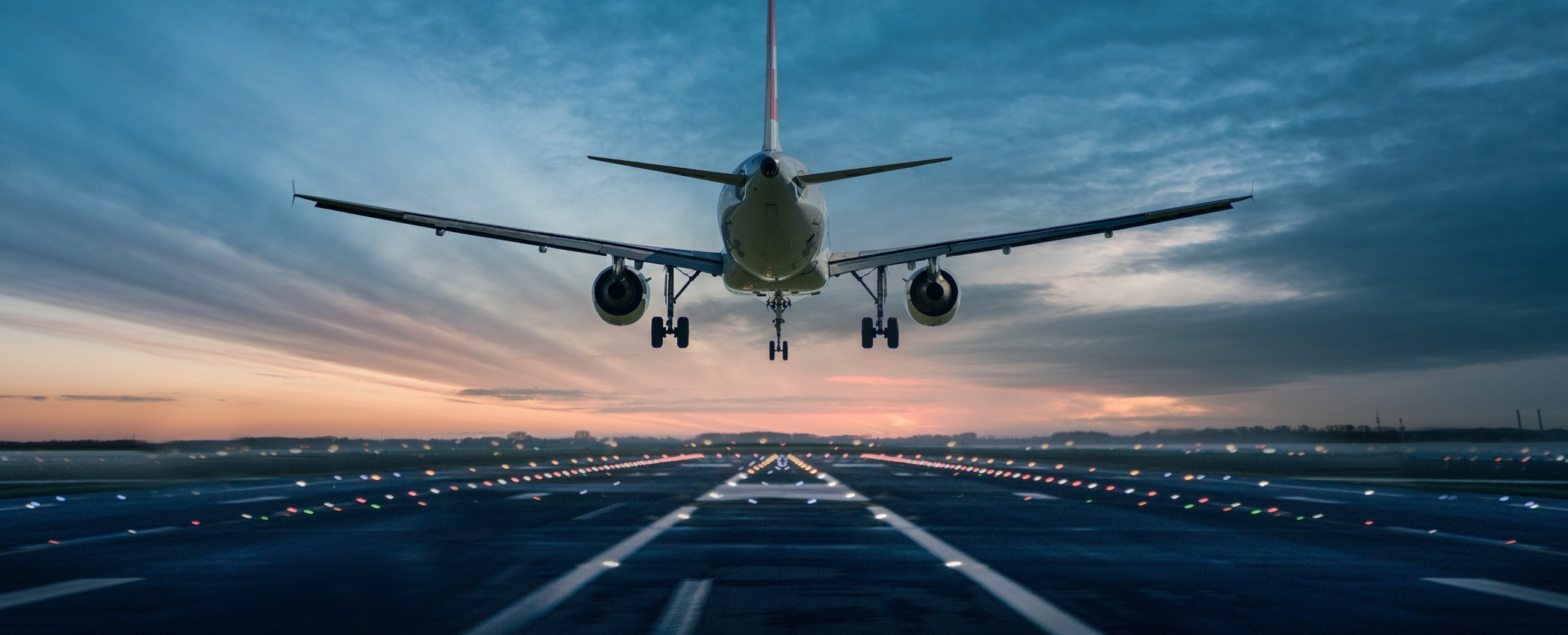 Airplane over the runway