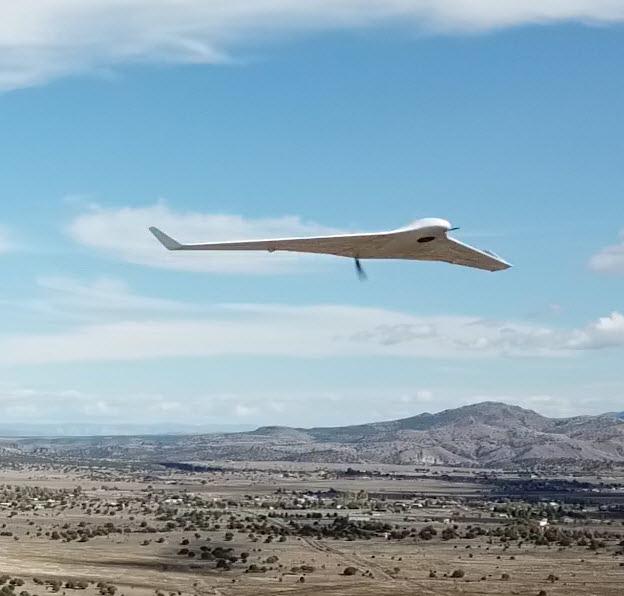 UAS flying over desert