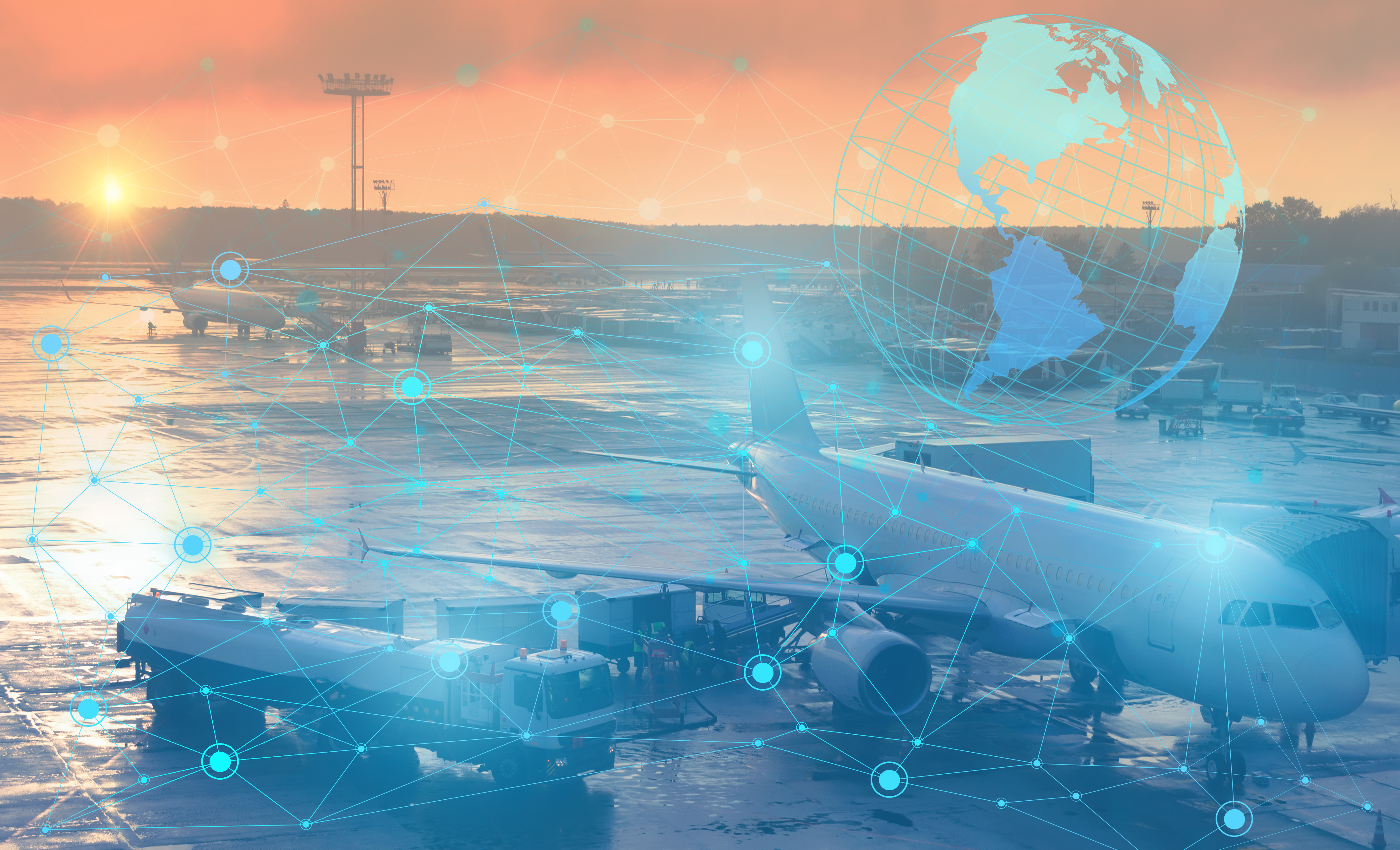 preflight preparation of the aircraft for departure. Conceptual representation of the use of modern technology and artificial intelligence to prepare the aircraft without human intervention